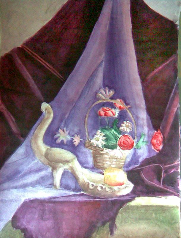 Натюрморт с цветами и птицей