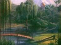 плакучая ива на берегу пруда - акварель