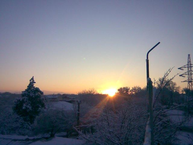 Мягкий восход зимой