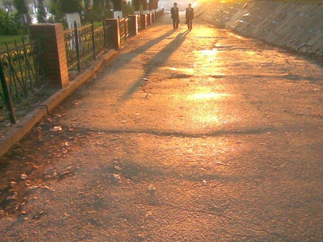 Отражение солнца на дороге
